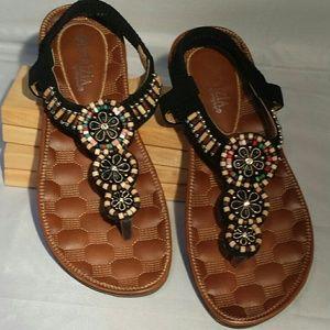 Patrizia Low Heel Sandal Peach, Teal, Beige, Brown